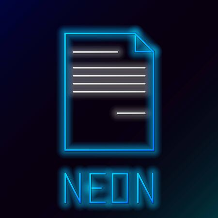 Blue glowing neon line Document icon isolated on black background. File icon. Checklist icon. Business concept. Colorful outline concept. Vector Illustration