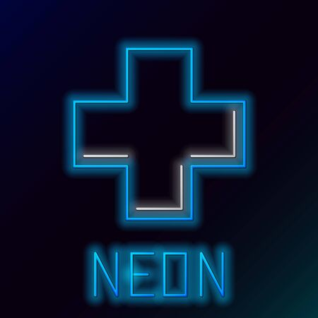 Blue glowing neon line Cross hospital medical icon isolated on black background. First aid. Diagnostics symbol. Medicine and pharmacy sign. Colorful outline concept. Vector Illustration Ilustracja