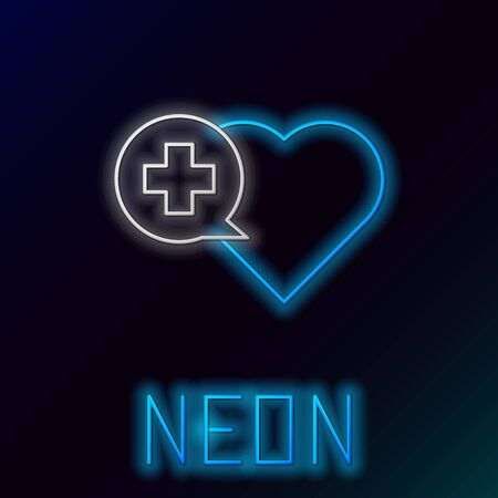 Blue glowing neon line Heart with a cross icon isolated on black background. First aid. Healthcare, medical and pharmacy sign. Colorful outline concept. Vector Illustration