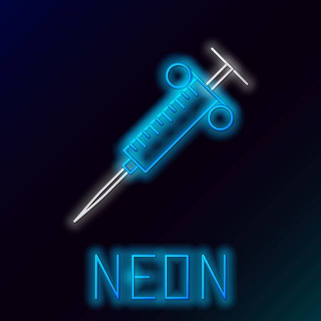 Blue glowing neon line Syringe icon isolated on black background. Syringe for vaccine, vaccination, injection, flu shot. Medical equipment. Colorful outline concept. Vector Illustration Imagens - 129898167