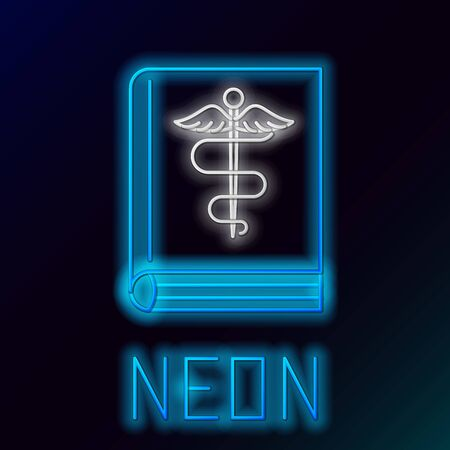 Blue glowing neon line Medical book icon isolated on black background. Colorful outline concept. Vector Illustration Иллюстрация