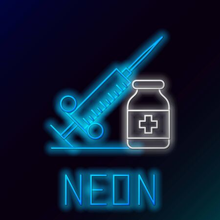 Blue glowing neon line Medical syringe with needle and vial or ampoule icon on black background. Vaccination, injection, vaccine, insulin concept. Colorful outline concept. Vector Illustration