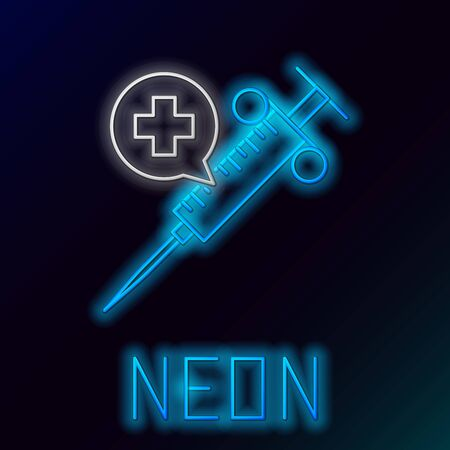 Blue glowing neon line Medical syringe with needle icon isolated on black background. Vaccination, injection, vaccine, insulin concept. Colorful outline concept. Vector Illustration Imagens - 129898323