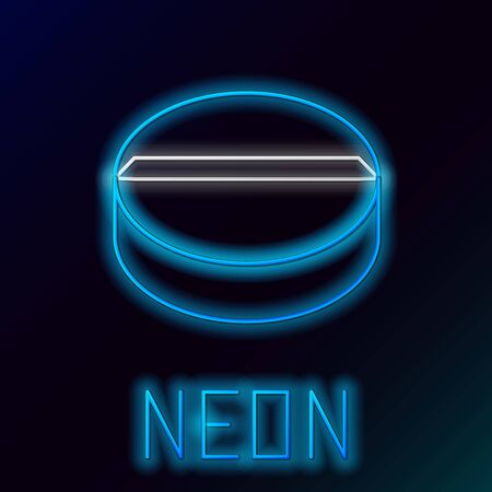 Blue glowing neon line Medicine pill or tablet icon isolated on black background. Capsule pill and drug sign. Pharmacy design. Colorful outline concept. Vector Illustration Illusztráció