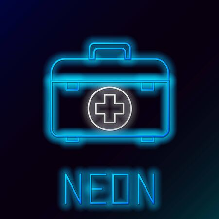 Blue glowing neon line First aid kit icon isolated on black background. Medical box with cross. Medical equipment for emergency. Healthcare concept. Colorful outline concept. Vector Illustration
