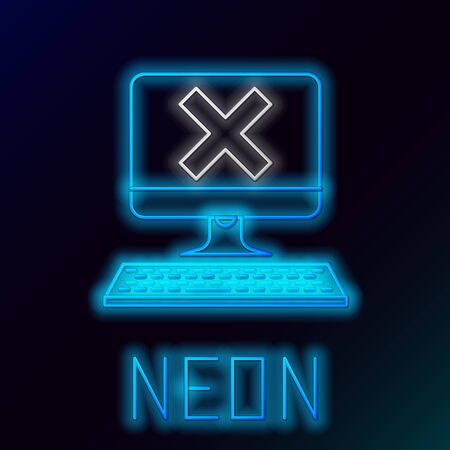 Blue glowing neon line Computer with keyboard and x mark icon on black background. Error window, exit button, cancel, 404 error page not found concept. Colorful outline concept. Vector Illustration Foto de archivo - 129898359