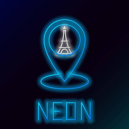 Blue glowing neon line Map pointer with Eiffel tower icon isolated on black background. France Paris landmark symbol. Colorful outline concept. Vector Illustration Ilustracja
