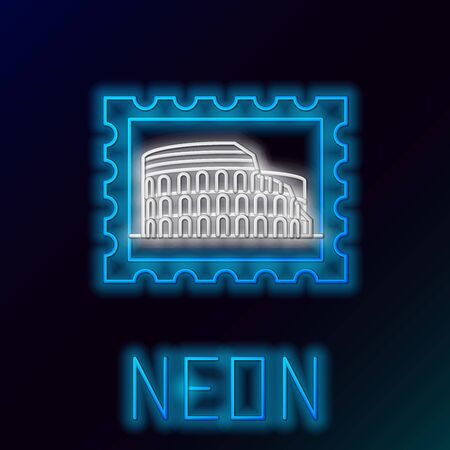 Blue glowing neon line Postal stamp and Coliseum icon isolated on black background. Colosseum sign. Symbol of Ancient Rome, gladiator fights. Colorful outline concept. Vector Illustration