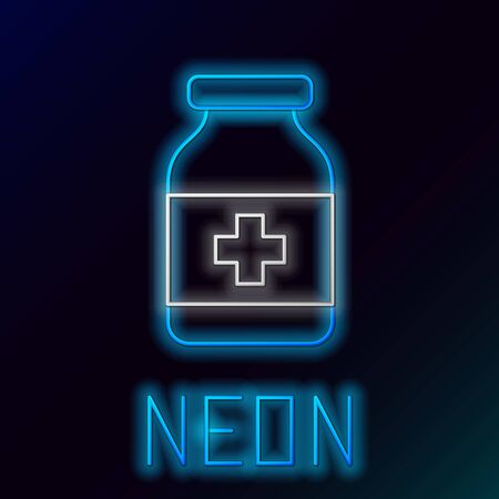 Blue glowing neon line Medicine bottle icon isolated on black background. Bottle pill sign. Pharmacy design. Colorful outline concept. Vector Illustration