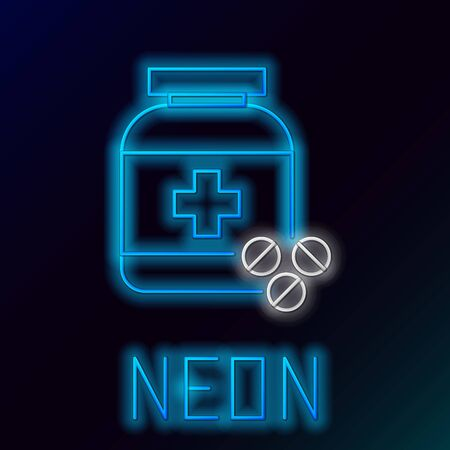Blue glowing neon line Medicine bottle and pills icon isolated on black background. Bottle pill sign. Pharmacy design. Colorful outline concept. Vector Illustration Иллюстрация