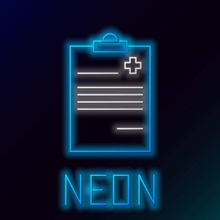 Blue glowing neon line Medical clipboard with clinical record icon on black background. Health insurance form. Prescription, medical check marks report. Colorful outline concept. Vector Illustration