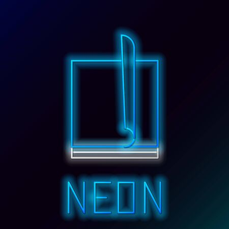 Blue glowing neon line File document icon isolated on black background. Checklist icon. Business concept. Colorful outline concept. Vector Illustration Stockfoto - 129895129