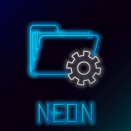 Blue glowing neon line Folder settings with gears icon isolated on black background. Software update, transfer protocol, teamwork tool management. Colorful outline concept. Vector Illustration  イラスト・ベクター素材