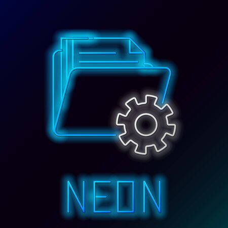 Blue glowing neon line Folder settings with gears icon isolated on black background. Software update, transfer protocol, teamwork tool management. Colorful outline concept. Vector Illustration Stock Illustratie