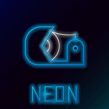 Blue glowing neon line Scotch icon isolated on black background. Roll of adhesive tape for work and repair. Sticky packing tape. Office tool and stuff. Colorful outline concept. Vector Illustration Иллюстрация