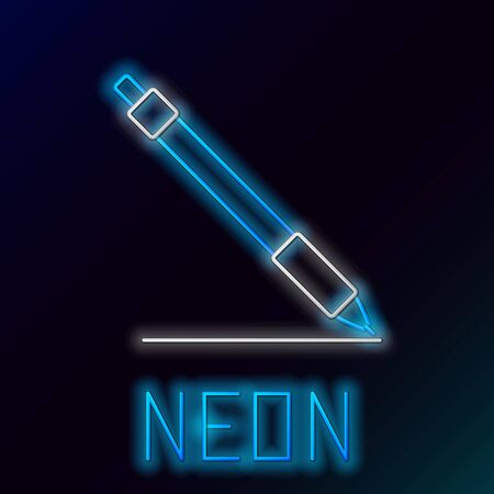 Blue glowing neon line Pen line icon isolated on black background. Colorful outline concept. Vector Illustration  イラスト・ベクター素材