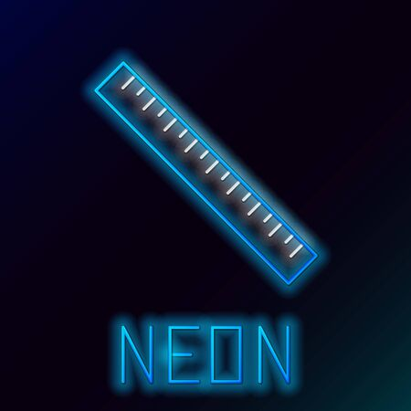 Blue glowing neon line Ruler icon isolated on black background. Straightedge symbol. Colorful outline concept. Vector Illustration Çizim