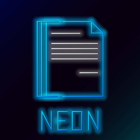 Blue glowing neon line File document icon isolated on black background. Checklist icon. Business concept. Colorful outline concept. Vector Illustration Stockfoto - 129895153