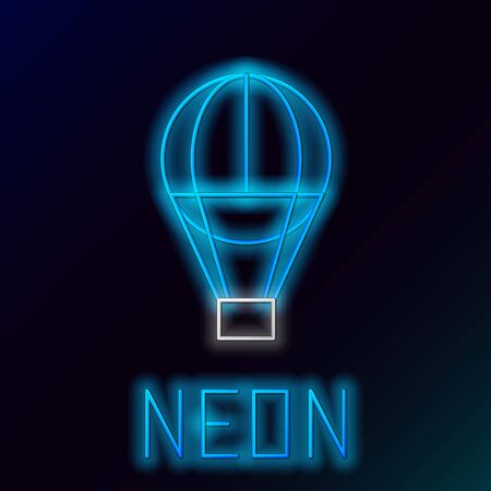 Blue glowing neon line Hot air balloon icon isolated on black background. Air transport for travel. Colorful outline concept. Vector Illustration Фото со стока - 129893630