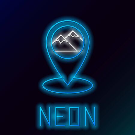 Blue glowing neon line Map pointer with mountain icon isolated on black background. Mountains travel icon. Colorful outline concept. Vector Illustration