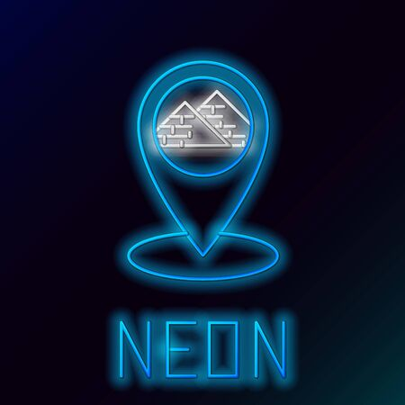 Blue glowing neon line Map pointer with Egypt pyramids icon isolated on black background. Colorful outline concept. Vector Illustration 일러스트