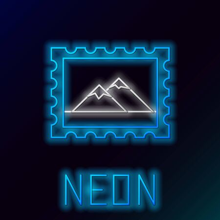 Blue glowing neon line Postal stamp and Mountains icon isolated on black background. Colorful outline concept. Vector Illustration