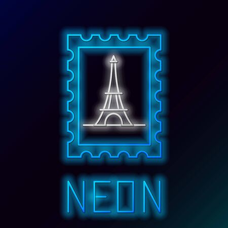 Blue glowing neon line Postal stamp and Eiffel tower icon isolated on black background. Colorful outline concept. Vector Illustration Ilustracja