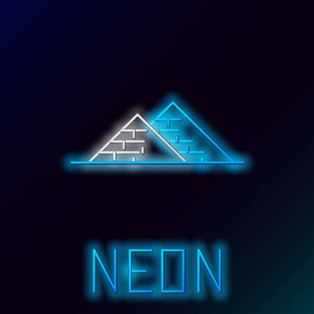 Blue glowing neon line Egypt pyramids icon isolated on black background. Symbol of ancient Egypt. Colorful outline concept. Vector Illustration