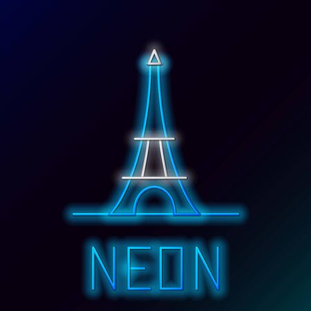 Blue glowing neon line Eiffel tower icon isolated on black background. France Paris landmark symbol. Colorful outline concept. Vector Illustration Ilustracja