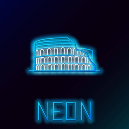 Blue glowing neon line Coliseum in Rome, Italy icon isolated on black background. Colosseum sign. Symbol of Ancient Rome, gladiator fights. Colorful outline concept. Vector Illustration Illustration