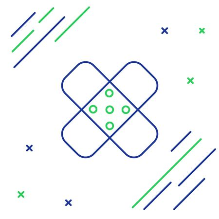 Blue and green line Crossed bandage plaster icon isolated on white background. Medical plaster, adhesive bandage, flexible fabric bandage. Colorful outline concept. Vector Illustration