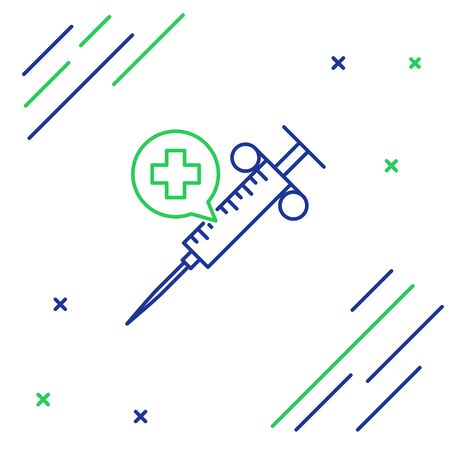 Blue and green line Medical syringe with needle icon isolated on white background. Vaccination, injection, vaccine, insulin concept. Colorful outline concept. Vector Illustration Imagens - 129939593