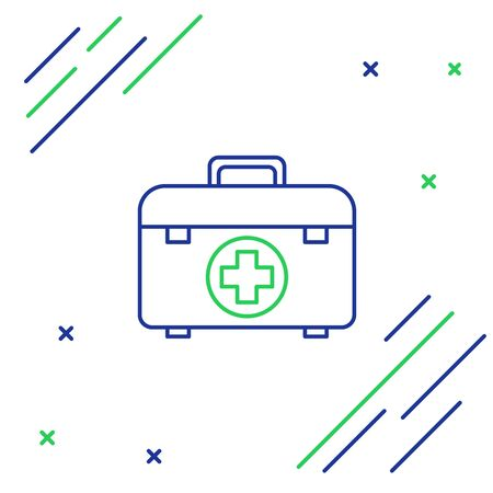 Blue and green line First aid kit icon isolated on white background. Medical box with cross. Medical equipment for emergency. Healthcare concept. Colorful outline concept. Vector Illustration 向量圖像