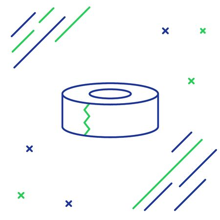 Blue and green line Scotch icon isolated on white background. Roll of adhesive tape for work and repair. Sticky packing tape. Office tool and stuff. Colorful outline concept. Vector Illustration Иллюстрация
