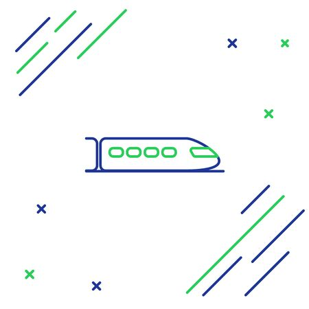 Blue and green line Train icon isolated on white background. Public transportation symbol. Subway train transport. Metro underground. Colorful outline concept. Vector Illustration