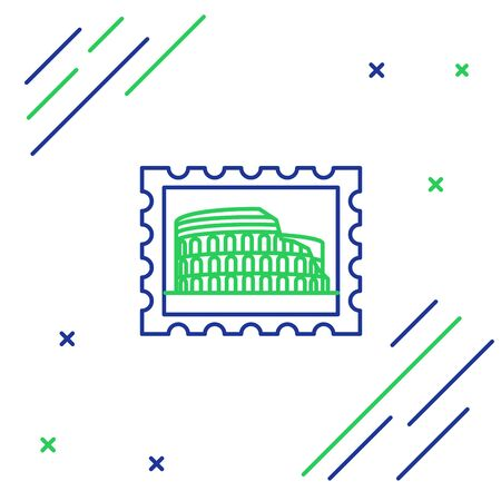Blue and green line Postal stamp and Coliseum icon isolated on white background. Colosseum sign. Symbol of Ancient Rome, gladiator fights. Colorful outline concept. Vector Illustration