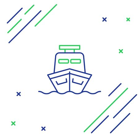 Blue and green line Ship icon isolated on white background. Colorful outline concept. Vector Illustration