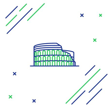 Blue and green line Coliseum in Rome, Italy icon isolated on white background. Colosseum sign. Symbol of Ancient Rome, gladiator fights. Colorful outline concept. Vector Illustration