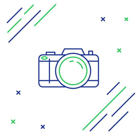 Blue and green line Photo camera icon isolated on white background. Foto camera icon. Colorful outline concept. Vector Illustration