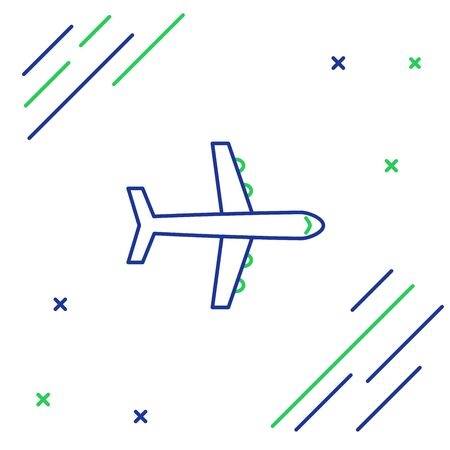 Blue and green line Plane icon isolated on white background. Flying airplane icon. Airliner sign. Colorful outline concept. Vector Illustration