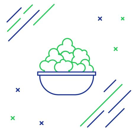 Blue and green line Popcorn in bowl icon isolated on white background. Popcorn bucket box. Colorful outline concept. Vector Illustration