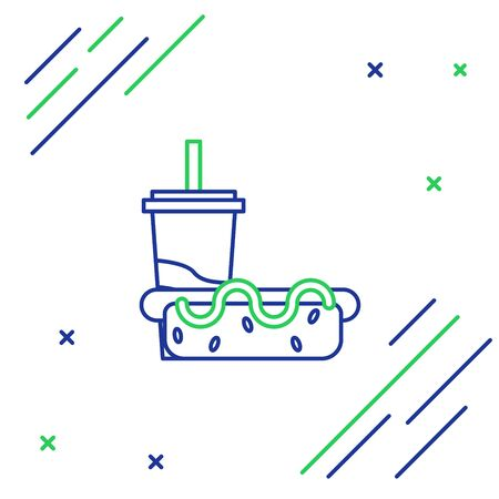 Blue and green line Paper glass with drinking straw and hotdog icon isolated on white background. Soda aqua drink sign. Hamburger, cheeseburger sandwich. Colorful outline concept. Vector Illustration