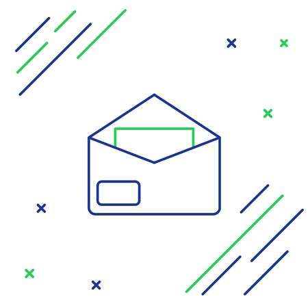 Blue and green line Envelope icon on white background. Email message letter symbol. Colorful outline concept. Vector Illustration