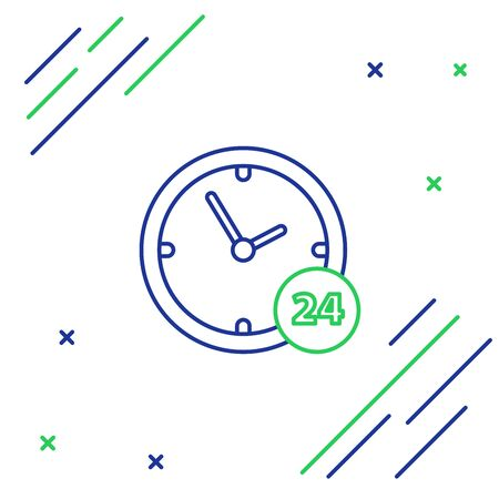 Blue and green line Clock 24 hours icon on white background. All day cyclic icon. 24 hours service symbol. Colorful outline concept. Vector Illustration  イラスト・ベクター素材