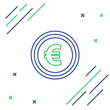 Blue and green line Coin money with euro symbol icon on white background. Banking currency sign. Cash symbol. Colorful outline concept. Vector Illustration