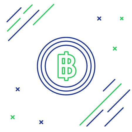 Blue and green line Cryptocurrency coin Bitcoin icon on white background. Blockchain technology, bitcoin, digital money market, cryptocoin wallet. Colorful outline concept. Vector Illustration Иллюстрация