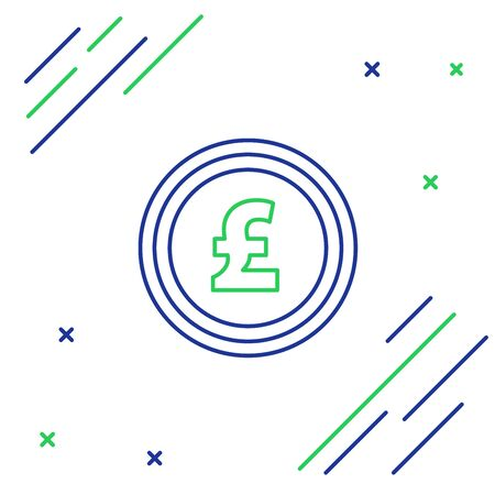 Blue and green line Coin money with pound sterling symbol icon on white background. Banking currency sign. Cash symbol. Colorful outline concept. Vector Illustration  イラスト・ベクター素材