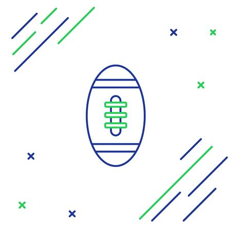 Blue and green line American Football ball icon isolated on white background. Rugby ball icon. Team sport game symbol. Colorful outline concept. Vector Illustration Foto de archivo - 129965250