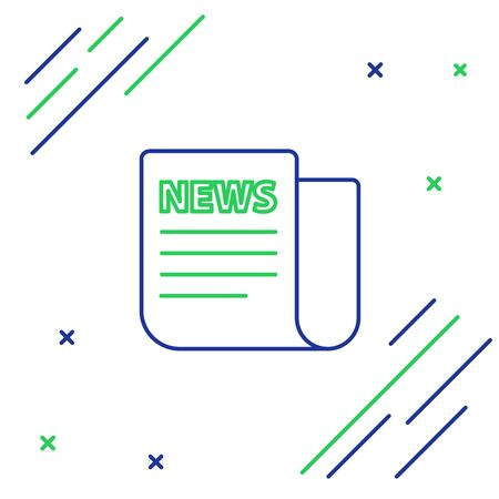 Blue and green line News icon isolated on white background. Newspaper sign. Mass media symbol. Colorful outline concept. Vector Illustration