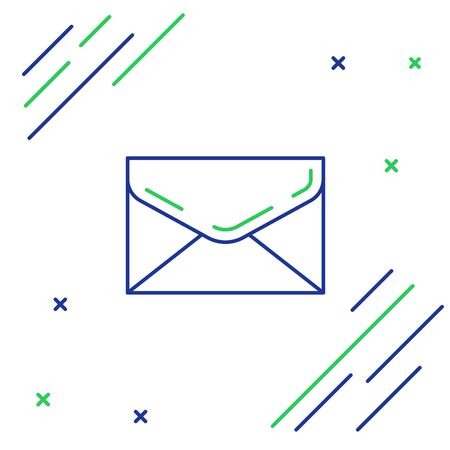 Blue and green line Envelope icon isolated on white background. Email message letter symbol. Colorful outline concept. Vector Illustration